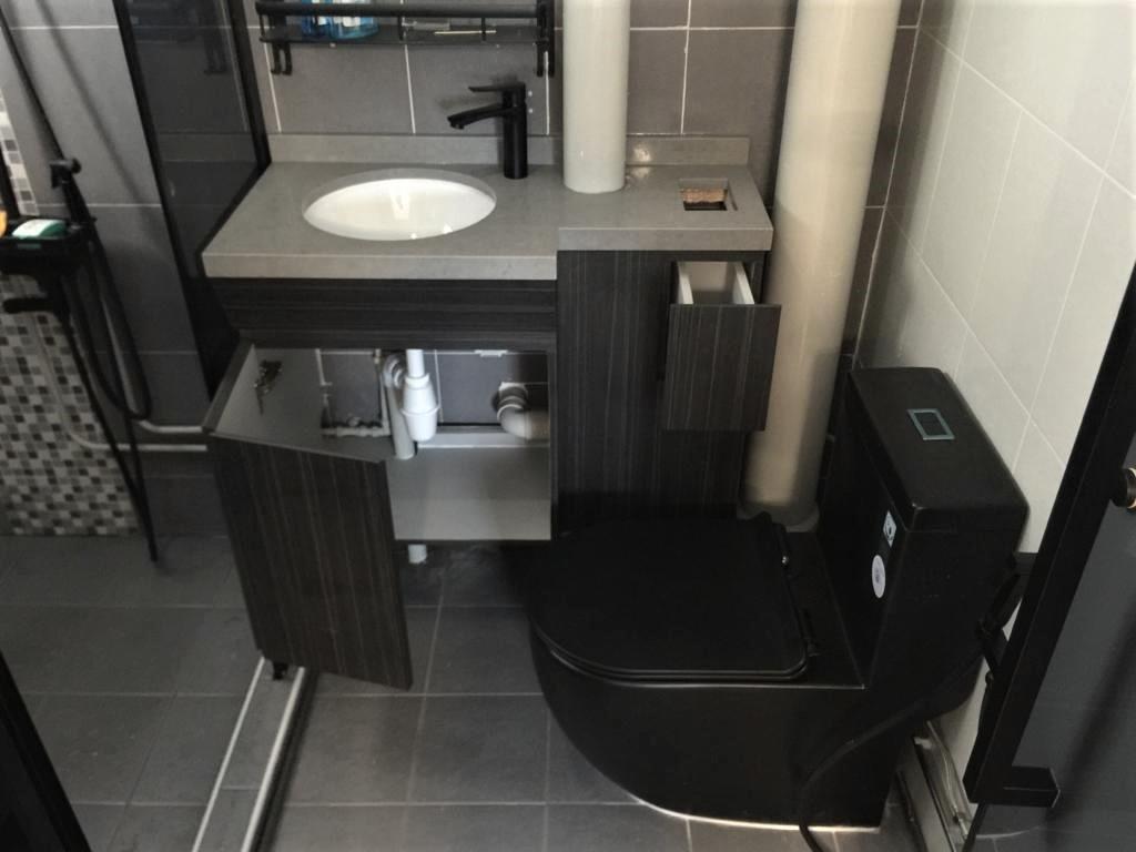 vanity counter for toilet renovation